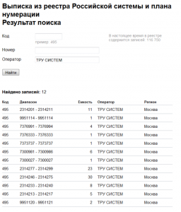 форма выдачи результатов поиска мобильного оператора по номеру телефона